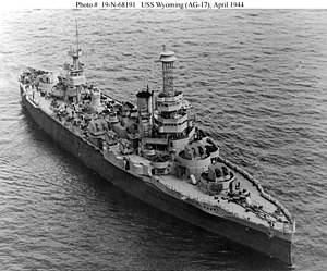 Wyoming-class battleship - Wyoming after conversion to a gunnery training ship