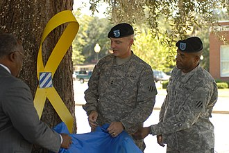Yellow ribbon - Yellow Ribbon Ceremony rededication ceremony to commemorate the 3rd Infantry Division's fourth deployment since September 11, 2001, at Victory Park in Hinesville