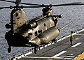 US Navy 050808-N-8053S-110 A U.S. Army MH-47 Chinook, assigned to the 160th Special Operations Aviation Regiment, departs from the flight deck of the amphibious assault ship USS Wasp (LHD 1).jpg