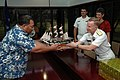 US Navy 050909-N-7293M-011 Commander, U.S. Naval Forces Marianas, Rear Adm. Charles J. Leidig presents a model of the frigate USS Constitution to the President of the Federated States of Micronesia.jpg