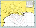 US Navy 050923-N-0000X-002 Current forecast projected path and wind speeds of Hurricane Rita from Sept 23 to Sept 28. Rita, a dangerous category three hurricane on the Saffir-Simpson Hurricane scale.jpg