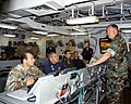 US Navy 070417-N-5455M-006 Commander, U.S. Sixth Fleet, Vice Adm. J. Stufflebeem speaks with foreign liaison officers on board amphibious assault ship USS Nassau (LHA 4) during exercise Phoenix Express 2007.jpg
