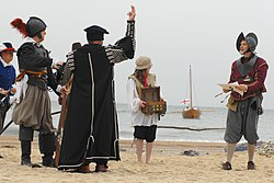 English ships and settlers arrive in Virginia, 1607 (re-enactment)