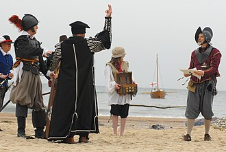 English overseas possessions - Re-enactment of English settlers arriving in Virginia, 1607