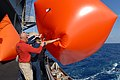 US Navy 080816-N-7730P-007 Weapons Department Sailors aboard the Nimitz-class aircraft carrier USS Ronald Reagan (CVN 76) launches an inflated target.jpg