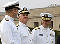 US Navy 080909-N-2855B-095 Adm. Mike Mullen, Adm. Timothy J. Keating, and Vice Admiral Jeffrey Wieringa at a armed forces full honor arrival ceremony and parade.jpg