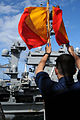 US Navy 100218-N-4275C-008 Quartermaster Seaman Matthew Rivera signals USS Carl Vinson (CVN 70) during a visual communications exercise aboard USS Bunker Hill (CG 52).jpg