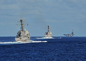 US Navy 120212-N-ED900-386 The Nimitz-class aircraft carrier USS John C. Stennis (CVN 74), the Arleigh Burke-class guided-missile destroyer USS Kid.jpg