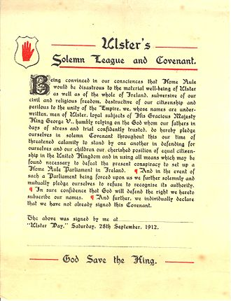 The Troubles - The Ulster Covenant was issued in protest against the Third Home Rule Bill in September 1912.