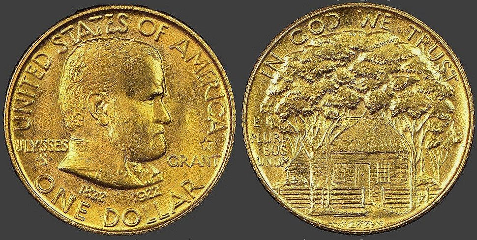 Ulysses S. Grant One Dollar Gold Piece, 1922 issue