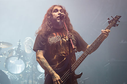 Tom Araya playing his ESP signature bass in 2012 Ursynalia 2012, Slayer, Tom Araya 01.jpg