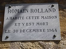 Vézelay, plaque de la maison de Romain Rolland.JPG
