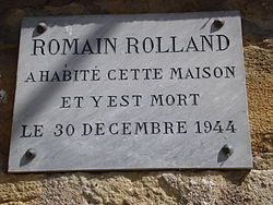 Photo of Romain Rolland white plaque