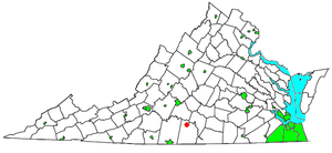Nathalie, Virginia - Image: VA Map doton Nathalie