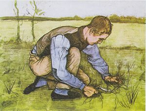 Boy Cutting Grass with a Sickle - Boy Cutting Grass with a Sickle, October 1881, Opaque watercolour on laid paper, Kröller-Müller Museum, Netherlands