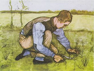 Paintings of Children (Van Gogh series) - Boy Cutting Grass with a Sickle, 1881, Black chalk and watercolor, reportedly at Kröller-Müller Museum, Otterlo (F851)