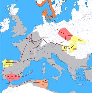 carte des migrations vandales