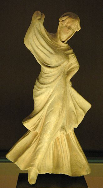 History of dance - Veiled dancer, ancient Greek terracotta figurine from Myrina, ca. 150–100 BC. Louvre Museum