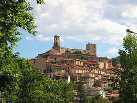 The church and surrounding buildings in Vernet-les-Bains
