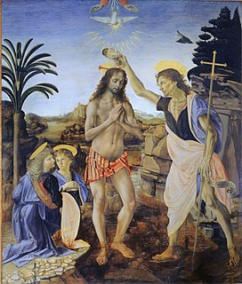 painting by Andrea del Verrocchio and Leonardo da Vinci