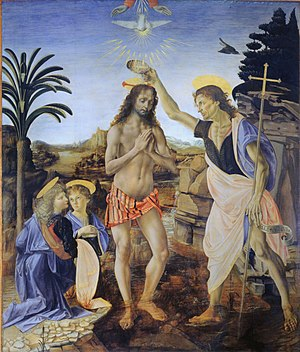 """Image result for """"Baptism of Christ,"""" Uffizi Gallery, Florence"""