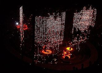 City of Blinding Lights - The visuals used on the Vertigo Tour were displayed in the music video.