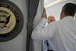 Vice President Cheney Talks with David Addington Aboard Air Force Two En Route to Astana, Kazakhstan (18642422322).jpg