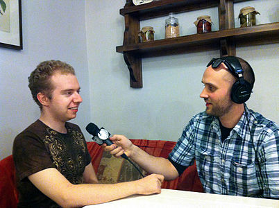 Victor Grigas interviewing User Antonu in St. Petersburg Russia June 2012.jpg