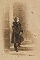 Victor Hugo lisant le mot «'Anarkh» (fatalité) dans l'escalier des tours de Notre-Dame.jpg
