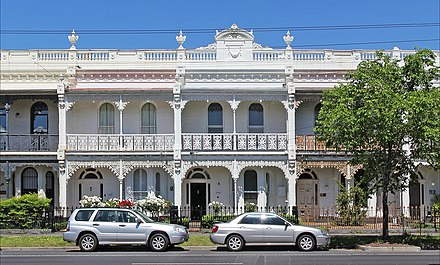 """Melbourne Style"" terrace houses are common in the inner suburbs and have been the subject of gentrification. Victorian terrace on canterbury road, Middle Park.jpg"