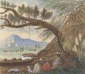View near Auckland- Three Maoris and a Dog, by Charles Emilius Gold.tif