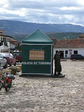Tourism in Colombia - Tourism Police, a unit of the Colombian National Police deployed to tourist areas to improve security. Here in the town of Villa de Leyva.