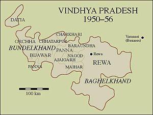 Vindhya Pradesh - Map of Vindhya Pradesh