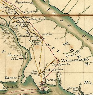 "Battle of Green Spring - Detail from a 1781 French map prepared for Lafayette depicting the Williamsburg/Jamestown area and the movements of Lafayette and Cornwallis. The Green Spring conflict is labelled ""le 6 Juillet""."