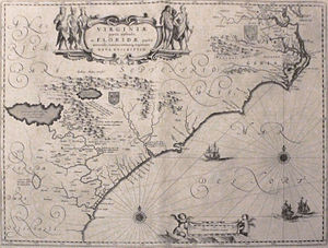 Colony of Virginia - Map depicting the Colony of Virginia (according to the Second Charter), made by Willem Blaeu between 1609 and 1638
