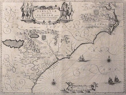 Map depicting the Colony of Virginia (according to the Second Charter), made by Willem Blaeu between 1609 and 1638 Virginia and Florida by W. Blaeu (MAM, Madrid, 413) 01.jpg