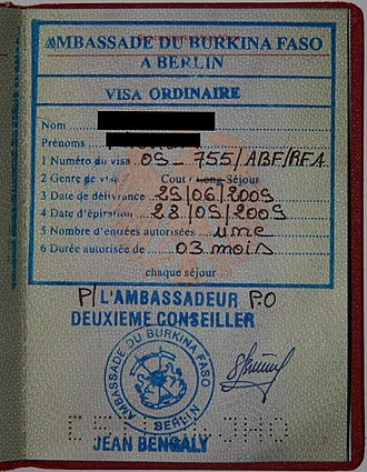 Visa policy of Burkina Faso - Burkina Faso visa