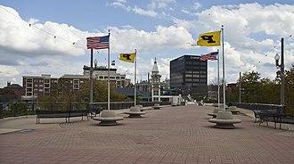 Lafayette, Indiana - View of Lafayette from Main St bridge.