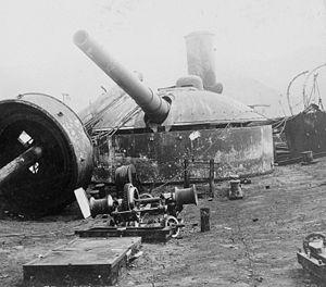 Spanish cruiser Vizcaya - One of Vizcaya′s 11-inch (279-mm) gun turrets in a photograph taken aboard her wreck after the Battle of Santiago de Cuba.