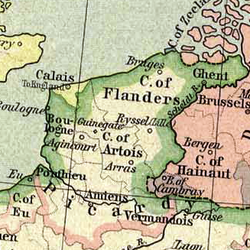 The Pale of Calais (geel) in 1477.