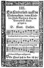 Luthers Choral Vom Himmel hoch, da komm ich her, 1567 (Quelle: Wikimedia)