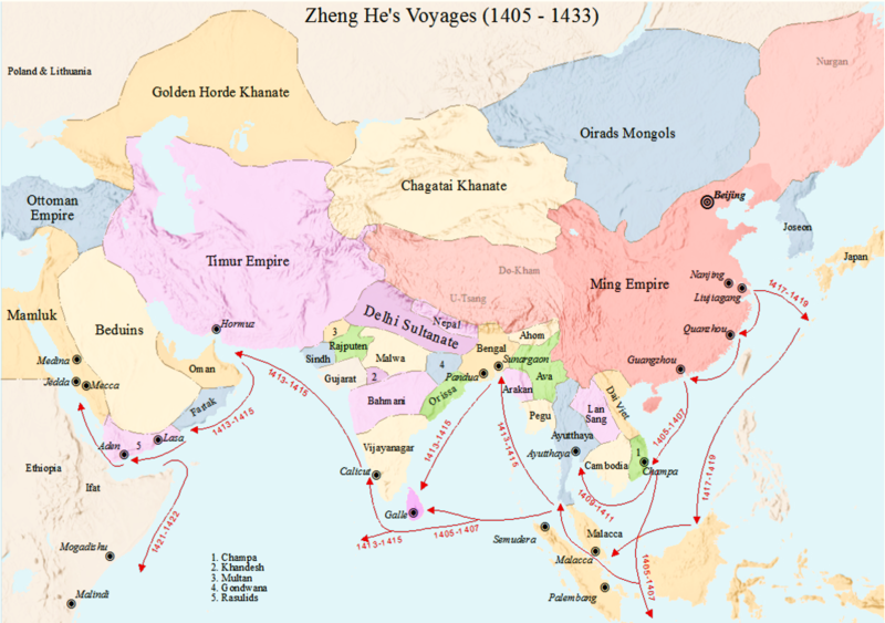 Voyages of Zheng He (1405 - 1433) during Ming Dynasty. Author:SY. CC BY-SA 4.0