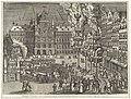 Vreugdevuren en vuurwerk op de Grote Markt, 1594 Vreugdevuren en vuurwerk op de Grote Markt ter viering van het Bestand, 1609 Vreugde Vuuren over de twaalfjaarige Treves tusschen Spanje en den Staat Anno 1609 (titel op, RP-P-OB-80.574.jpg