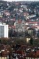 Würzburg, Blick von der Festung Marienberg zur Adalberokirche.jpg