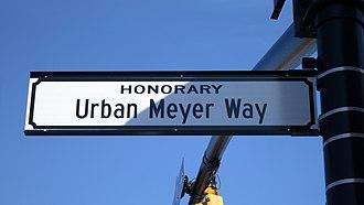 Urban Meyer - Image: W. Bridge St. (Dublin, Ohio) renamed Honorary Urban Meyer Way