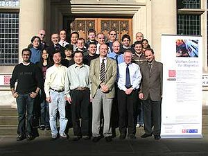 Wolfson Centre for Magnetics - Members of Wolfson Centre for Magnetics in front of School of Engineering (Cardiff University)