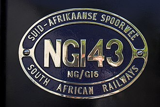 South African locomotive numbering and classification - Number plate on Class NG/G16 NG143