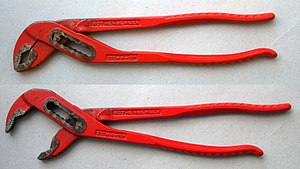 Tongue-and-groove pliers - Tongue-and-groove-pliers in extreme positions, size 10 inches