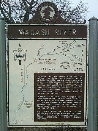 Wabash River - Image: Wabash River historical marker