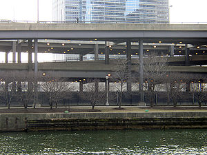 Wacker Drive - All three levels of Wacker Drive, east of Columbus Drive, including a ramp between the upper and lower (middle) levels